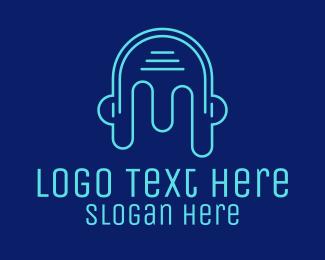 Disco Bar - Head Outline Headphones logo design