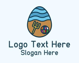 Resort - Beach Resort Egg logo design