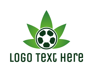 Joint - Soccer Ball Cannabis Weed logo design