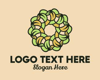 Leafy - Organic Leafy Wreath  logo design