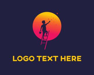 Imagination - Moon & Boy logo design