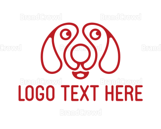 Dachshund - Red Dog Outline logo design