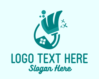 Home Cleaning Service - House Cleaning Broom Mop Cleaner logo design