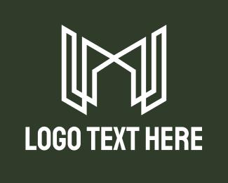 M - White Letter M Real Estate logo design