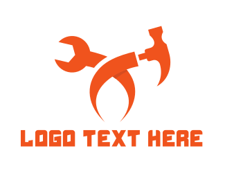 Carpentry - Orange Tool X logo design