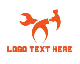 Carpentry - Orange Tool X logo design