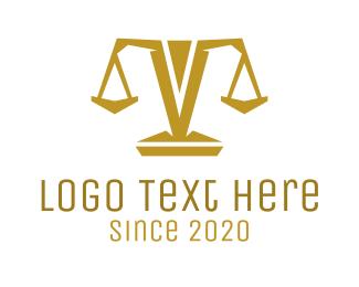 Attorney - Gold Polygon Scale logo design