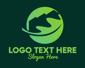 Town House - Green Eco Home Roof Leaf logo design