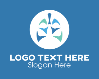 Lung Disease - Blue Abstract Lungs logo design