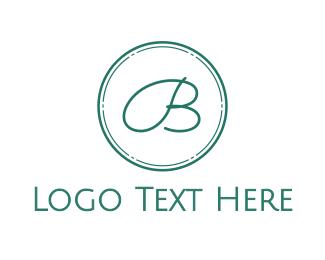 Letter B - Blue Cursive Letter B logo design