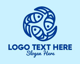 Group - Blue Ocean Fish logo design