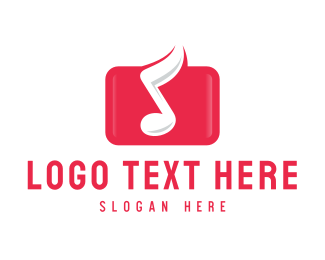 Note - Red Music Note logo design