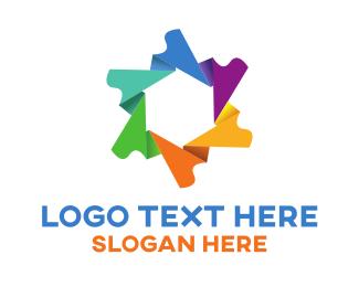 Globe - Origami Flower logo design
