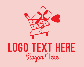Gift Shop - Red Valentine Shopping Cart logo design