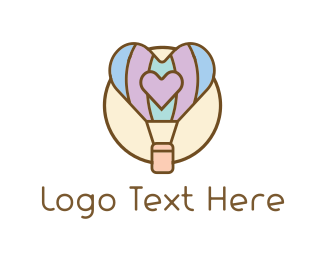Hot Air Balloon - Love Balloon logo design