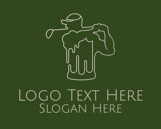 Swing - Golfer Beer Mug logo design