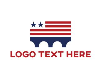Blue And Red - USA Bridge logo design