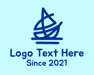 Blue Nautical Boat Logo