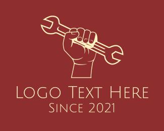 Carpentry - Hand Wrench Mechanic logo design