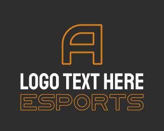 Esport - Orange Esports Letter Text logo design
