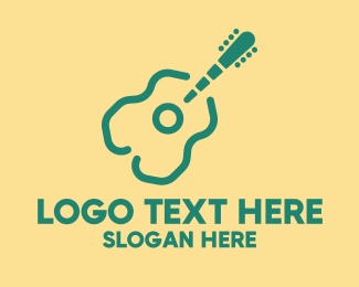 Busking - Simple Green Guitar logo design