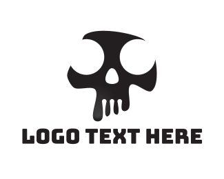 Grunge - Black & White Abstract Skull  logo design
