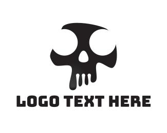 Dj - Black & White Abstract Skull  logo design