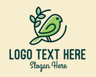 Ecofriendly - Cute Green Bird logo design
