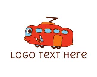 Van - Friendly Red Bus logo design
