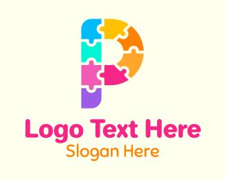 Childcare - Colorful Puzzle Letter P logo design