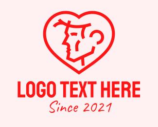 Handsome - Male Profile Heart logo design