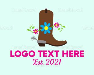 Cowboy - Western Boot logo design
