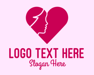 Online Dating - Woman Face Heart logo design
