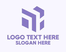 Advertising - Abstract Purple Digital Cube logo design