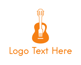 Pop - Guitar Music & Food logo design
