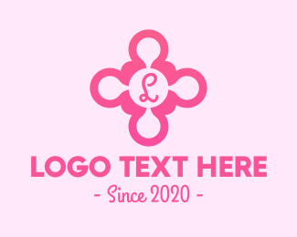 Feminine Wash - Cute Pink Flower Letter logo design