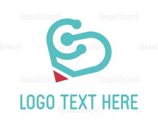Color Pencil - Pencil Heart  logo design