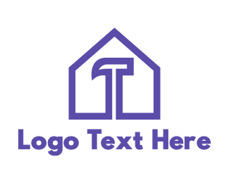 Renovation - Purple Hammer House logo design