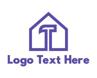 Carpentry - Purple Hammer House logo design