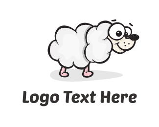 White Dog - Sheep Dog Cloud logo design