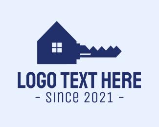 Lodge - Blue Safe House Key logo design