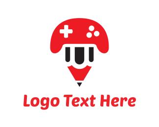 Joystick - Pencil Game logo design
