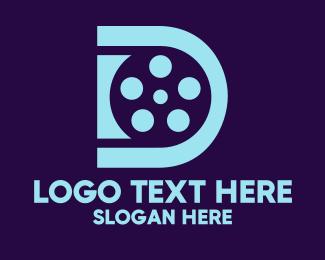 Movie Studio - Blue Film Letter D logo design