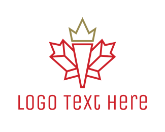 Ontario - Canadian Leaf Outline logo design