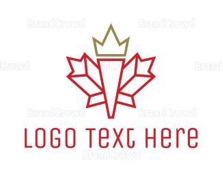 Canadian - Canadian Leaf Outline logo design
