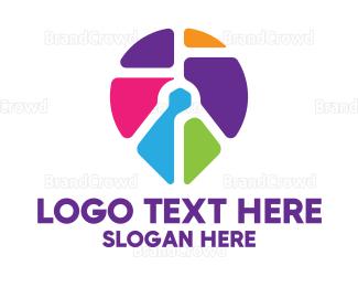 Multicolor - Multicolor Location Pin Icon logo design