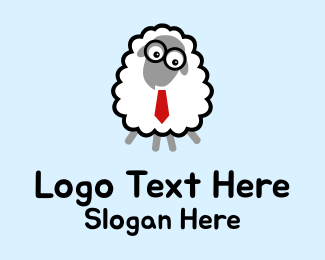 Geek - Cartoon Geek Sheep  logo design