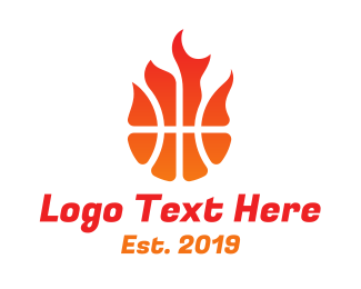 Athlete - Burning Basketball logo design