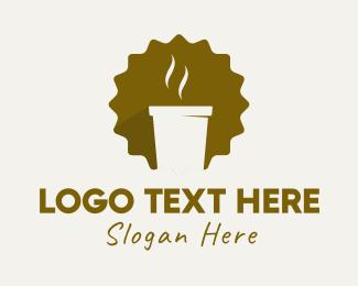 Hot - Brown Hot Coffee Cafe logo design