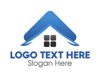 Roofing - Blue Property Roof logo design